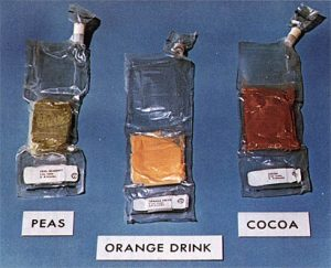 Apollo rehydratable food packages. Credit: NASA