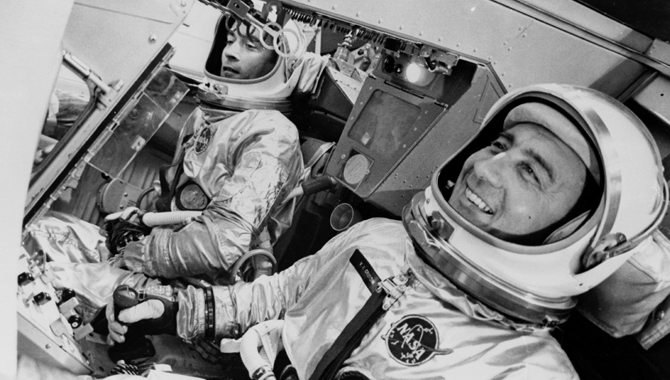 "On the first crewed Gemini flight, Gemini III, John W. Young, left, smuggled a corned beef on rye sandwich into the capsule and briefly shared it with Virgil I. ""Gus"" Grissom. NASA soon developed technology that improved the freeze-drying process to improve the quality of food on long spaceflights. Credit: NASA/MSFC archives"