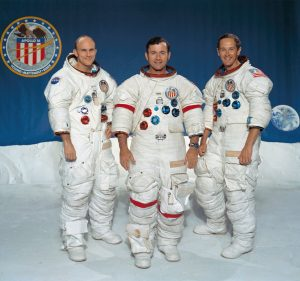 From left to right, Thomas K. Mattingly II, command module pilot; John W. Young, commander; and Charles M. Duke Jr., lunar module pilot. Credit: NASA