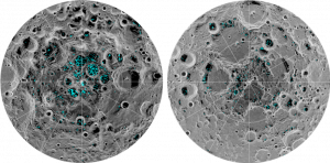 The image shows the distribution of surface ice at the Moon's south pole (left) and north pole (right), detected by NASA's Moon Mineralogy Mapper instrument. Credit: NASA