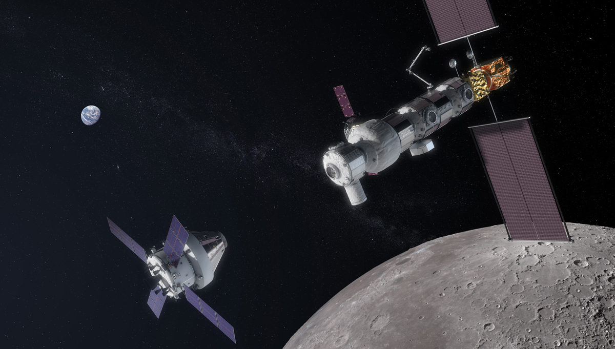 In this artist's concept, an Orion spacecraft approaches the Gateway, in orbit at the Moon. Credit: NASA
