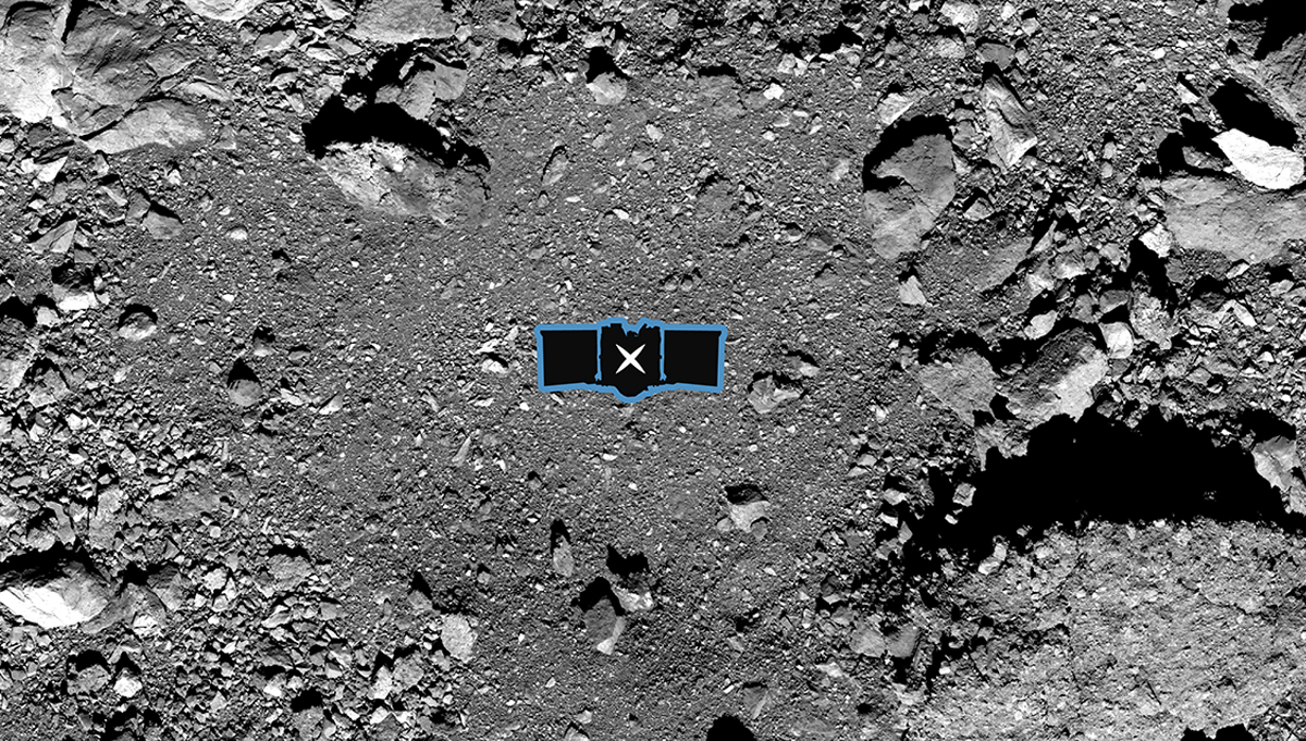 OSIRIS-REx's primary sample collection site on asteroid Bennu is Nightingale, shown here overlaid with a graphic of the spacecraft to illustrate the scale. Credit: NASA/Goddard/University of Arizona