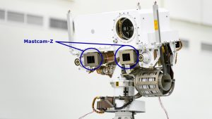 A close-up view of the head of Mars 2020's remote sensing mast. The gray boxes beneath the mast head are the two Mastcam-Z imagers. Credit: NASA/JPL-Caltech.