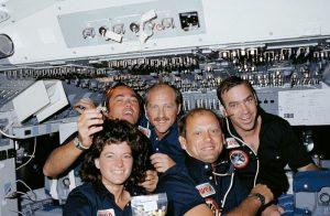 Left to right are Mission Specialist Sally Ride, Commander Robert Crippen, Pilot Frederick Hauck, Mission Specialist Norman Thagard and Mission Specialist John Fabian. Credit: NASA
