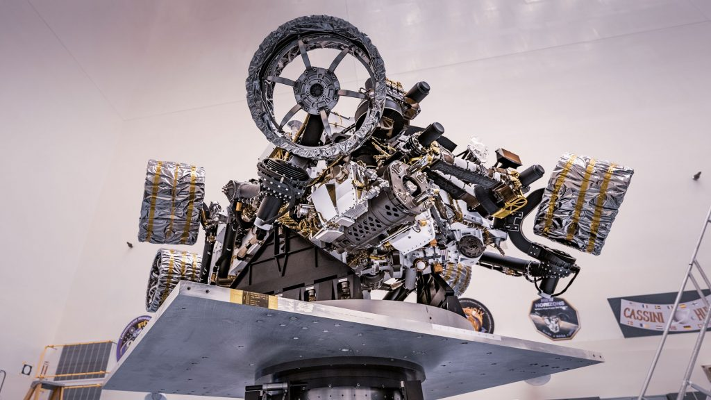 NASA's Perseverance rover attached to a spin table during a test of its mass properties at the Kennedy Space Center in Florida. The image was taken on April 7, 2020. Credits: NASA/JPL-Caltech