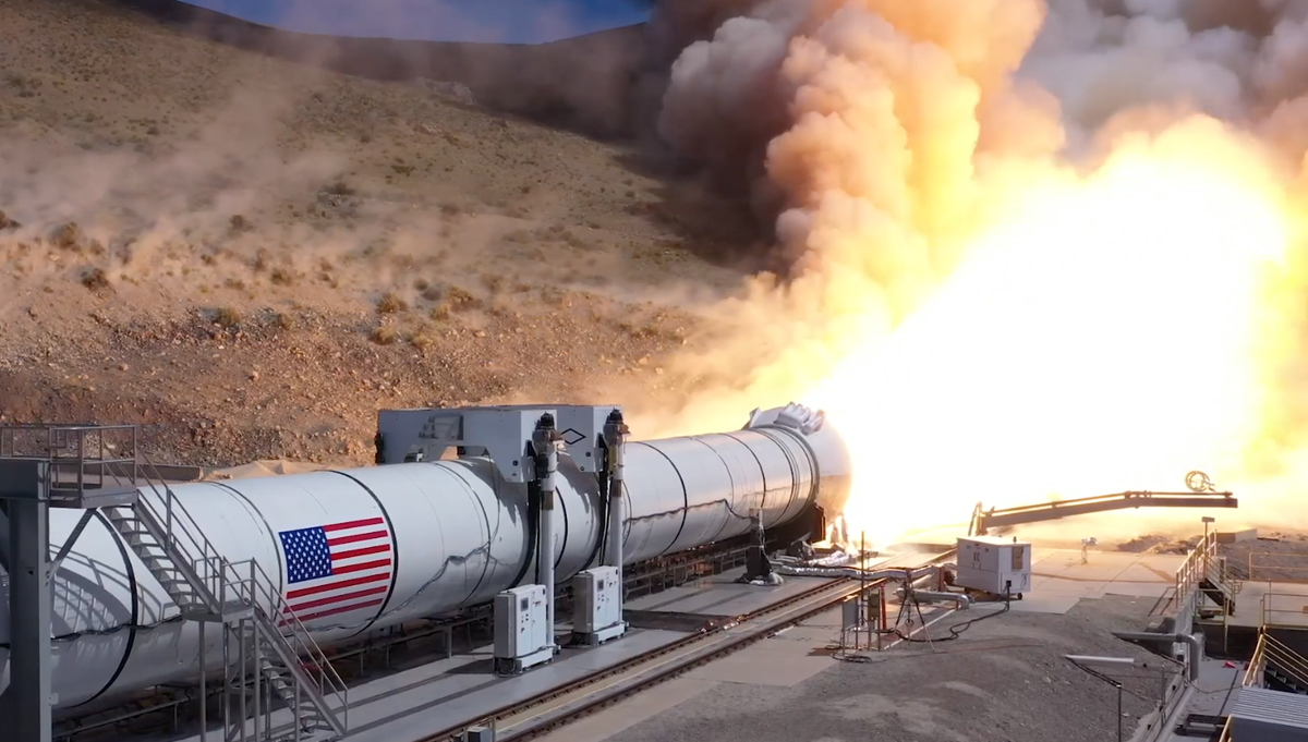 A Solid Rocket Booster from NASA's Space Launch System is tested in the Utah desert. Credit: NASA