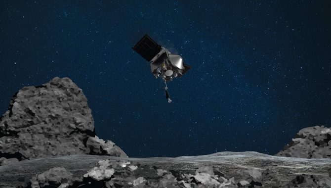 In this illustration, NASA's OSIRIS-REx prepares for sample collection on asteroid Bennu. Credit: NASA/Goddard/University of Arizona