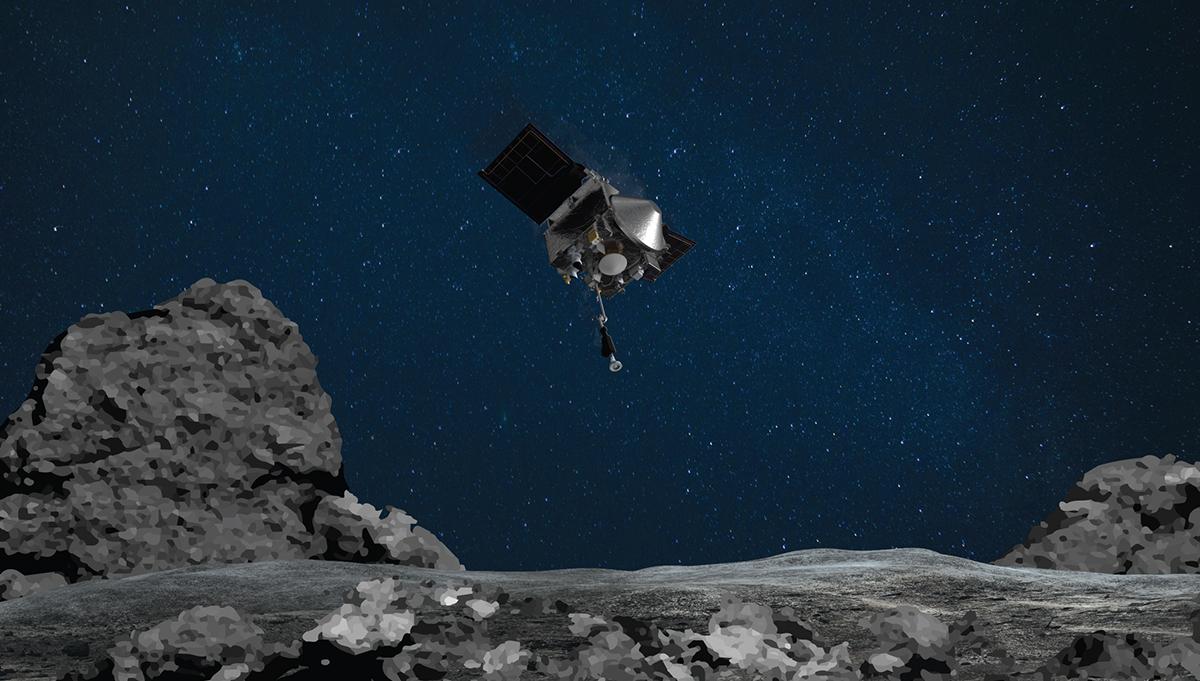 In this illustration, NASA's OSIRIS-REx prepares for sample collection on asteroid Bennu. Credit: NASA/Goddard/University of Arizona