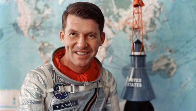 NASA Astronaut Walter Schirra in his Mercury flight suit. Credit: NASA