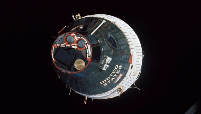 Gemini VII as seen from Gemini VI-A during the more than five hours of maneuvering the astronauts performed during the first spacecraft rendezvous. The two spacecraft are approximately 43 feet apart at this point, eventually closing to about one foot apart. Credit: NASA