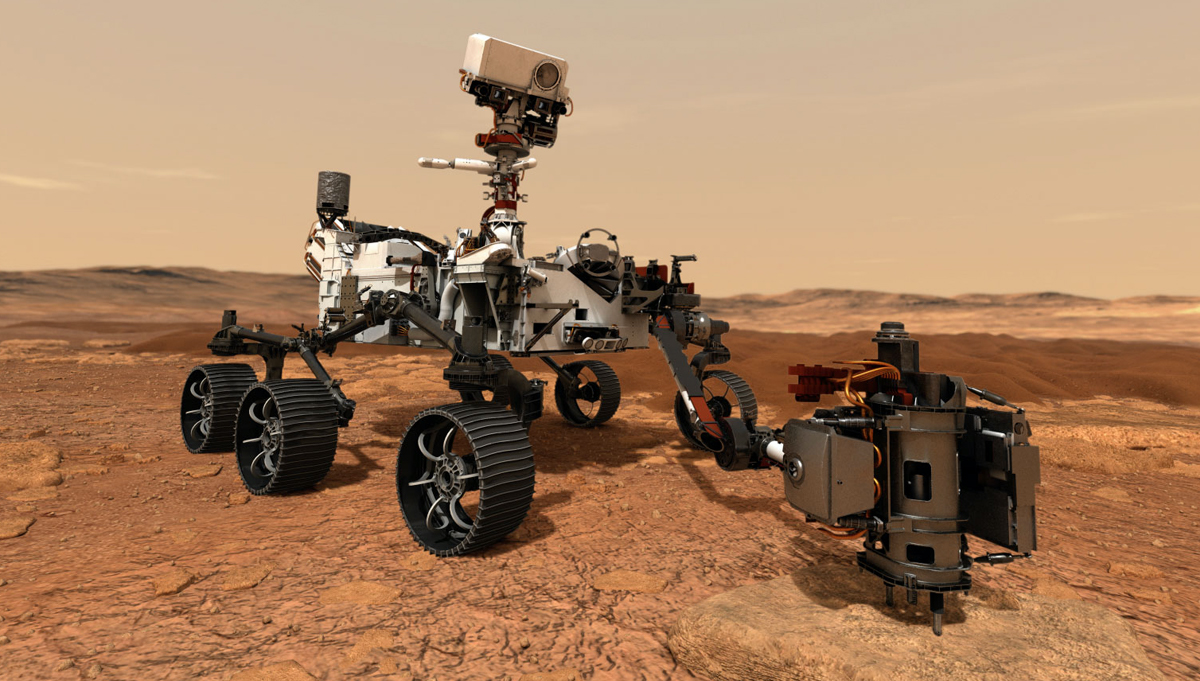 In this illustration, NASA's Mars 2020 rover uses its drill to core a rock sample on Mars. Those samples, stored in hermetically sealed tubes, are the first step of the Mars Sample Return Campaign. Credit: NASA/JPL-Caltech