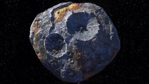 This artist's concept of 16 Psyche, includes the rugged surface and massive craters of the iron and nickel asteroid. Credit: NASA/JPL-Caltech/ASU