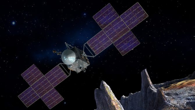 This artist's-concept illustration depicts the spacecraft of NASA's Psyche mission near the mission's target, the metal asteroid Psyche. The artwork was created in May 2017 to show the five-panel solar arrays planned for the spacecraft. Credit: NASA/JPL-Caltech