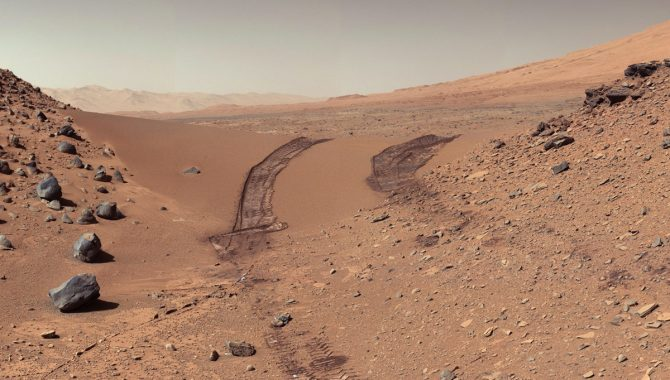 This look back at a dune that NASA's Curiosity Mars rover drove across was taken by the rover's Mast Camera (Mastcam) during the 538th Martian day, or sol, of Curiosity's work on Mars (Feb. 9, 2014). Credit: NASA/JPL-Caltech/MSSS