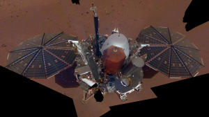 This is NASA InSight's first full selfie on Mars. It displays the lander's solar panels and deck. On top of the deck are its science instruments, weather sensor booms and UHF antenna. Image Credit: Nasa/JPL-Caltech