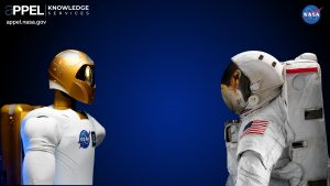 NASA has developed several Robonauts — dexterous humanoid robots — that can help humans work and explore in space, sharing the same workspaces and tools. Robonaut 2, above left, launched to the International Space Station on space shuttle Discovery as part of the STS-133 mission, the first dexterous humanoid robot in space. Credit: NASA
