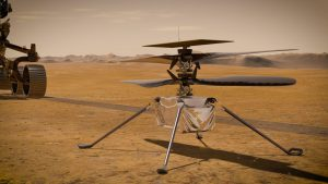 In this illustration, NASA's Ingenuity Mars Helicopter stands on the Red Planet's surface as NASA's Perseverance rover (partially visible on the left) rolls away.<br /> Credit: NASA/JPL-Caltech