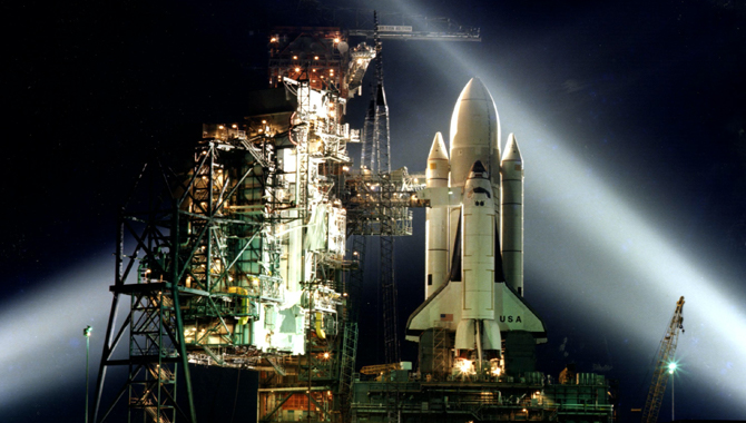This timed exposure taken on March 5, 1981, shows the preparation work at Kennedy Space Center's Launch Pad A, Complex 39, to prepare Columbia for the first launch of the space shuttle program, STS-1. Credit: NASA