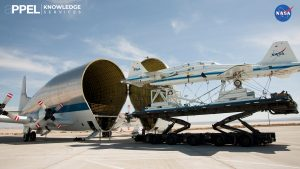 The massive SGT Super Guppy Transport swallows two retired T-38 trainers mounted on a transport pallet, for a flight to El Paso, Texas, where the trainers were to be disassembled in 2013. The SGT's hinged nose opens 110 degrees to give access to a cavernous 25-foot diameter cargo bay, capable of carrying Saturn rocket stages or International Space Station modules. Credit: NASA
