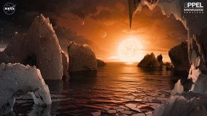 As NASA works to identify Earth-like planets orbiting nearby stars, this artist's concept imagines the surface of TRAPPIST-1f, one of seven planets orbiting an ultra-cool dwarf sun 235 trillion miles from Earth. The James Webb Space Telescope will give astronomers a much closer look at the TRAPPIST-1 solar system. Credit: NASA