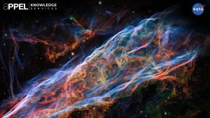The Hubble Space Telescope has transformed scientific understanding of the universe—from its age, to the rate of its expansion, to the role of black holes within its galaxies. Hubble continues to produce stunning images, such as this one of the Veil Nebula, the visible remnants of a supernova formed by the death of a star 20 times larger than the Sun more than 10,000 years ago. Credit: NASA
