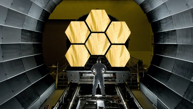 The James Webb Space Telescope's primary mirror, segments of which are seen here prepared for cryogenic testing in 2011, has unfolded for the last time on Earth as the team anticipates a launch this fall. Credit: NASA/MSFC/David Higginbotham