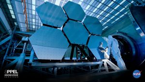 Six of the James Webb Space Telescope's (JWST) 18 ultra-lightweight beryllium hexagonal mirrors undergo testing. All 18 of the mirrors combine to form the primary mirror—about 6.5 meters from tip to tip, slightly more than 25 square meters in all—that will enable astronomers to peer farther back into time than the Hubble Space Telescope and see in far greater detail than ever before. Credit: NASA