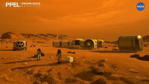 The Artemis program will establish a long-term human presence at the Moon that will help NASA learn the lessons about living off the Earth for an eventual human mission to Mars. In this artist's concept, astronauts have emerged from their habitats on Mars to explore the surface. Credit: NASA