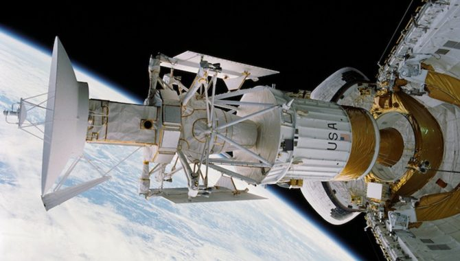The crew of STS-30 deploys the Magellan probe to Venus, the first planetary spacecraft to be launched from the space shuttle. Credit: NASA