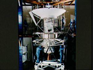 Technicians at Martin Marietta, Colorado, prepare Magellan for the flight to Venus.<br /> Credit: NASA