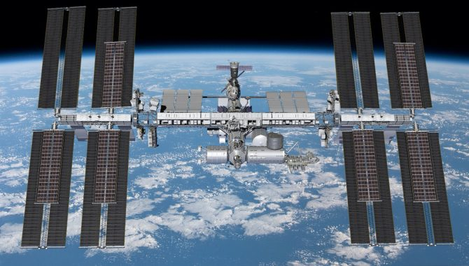 This rendering shows the planned configuration for all six iROSA solar arrays. NASA astronaut Shane Kimbrough and European Space Agency astronaut Thomas Pesquet have installed the first two, the upper and lower iROSAs on the P6 truss, shown here at the far right. Credit: NASA