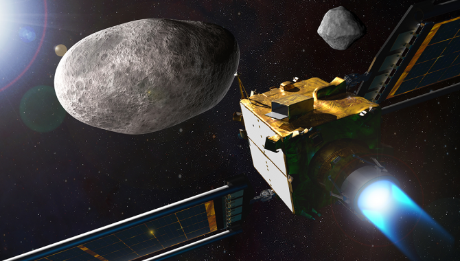 In the fall of 2022, the DART spacecraft will collide head-on with the smaller asteroid in the Didymos system in the first space test of the kinetic impactor method for deflecting an asteroid. Credit: NASA/Johns Hopkins APL