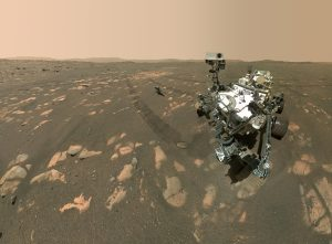 NASA's Perseverance Mars rover took this selfie on April 6, 2021 with the Ingenuity helicopter about 13 feet (3.9 meters) from the rover. Credit: NASA
